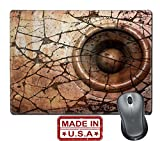 """Liili Natural Rubber Mouse Pad/Mat with Stitched Edges 9.8"""" x 7.9"""" IMAGE ID: 11791261 pink orange HD 3d render grunge old speaker sound system deejay DJ"""