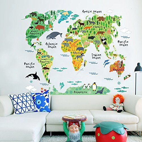 Murals World Map Country Cartoon Typical Animals Jungle Removable Nursery Wall Art Decor Peel & Stick Decals Stickers for Kids Playroom Decor Kindergarden Study Parlour ()