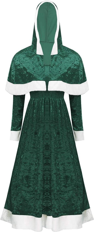 Frauen Weihnachtskostüm Kapuzen Umhang Cape und Langarm Midi Kleid Partykleid
