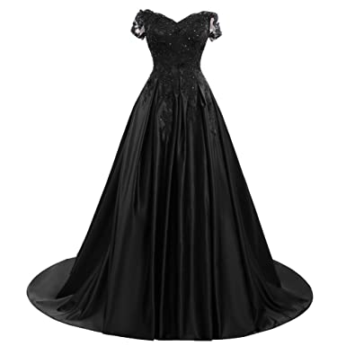 Bess Bridal Womens Beaded Lace V Neck Prom Dresses Lace Up Long Evening Gowns US2 Black