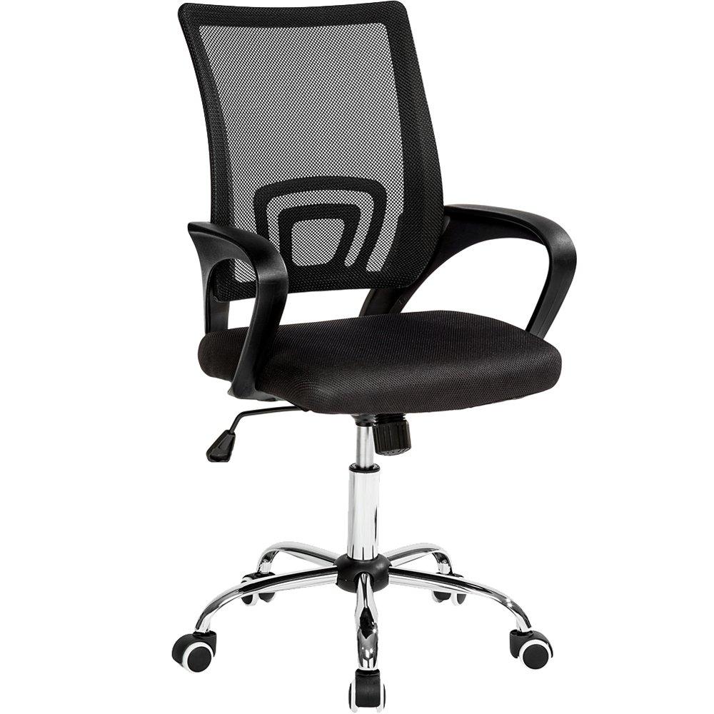 TecTake Bürostuhl Drehstuhl Schreibtischstuhl mit Lordosenstütze und Armlehnen - Diverse Farben - (Schwarz   Nr. 401789)