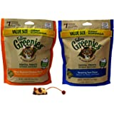 Healthy Cat Goodies Kitty Pack Feline Greenies Dental Value Size Crunchy Treats for Cats 2 Flavor Variety Plus Catnip Toys Bundle, 1 Each: Oven Roasted Chicken, Tempting Tuna (5.5 Ounces)
