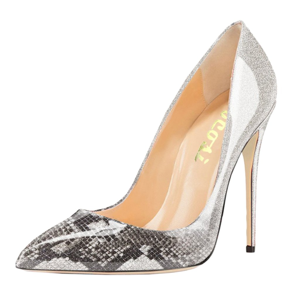 VOCOSI Pointy Toe Pumps for Women,Patent Gradient Animal Print High Heels Usual Dress Shoes B077GQPL43 7 B(M) US|Gradient Grey to Snake Print With 12cm Heel Height