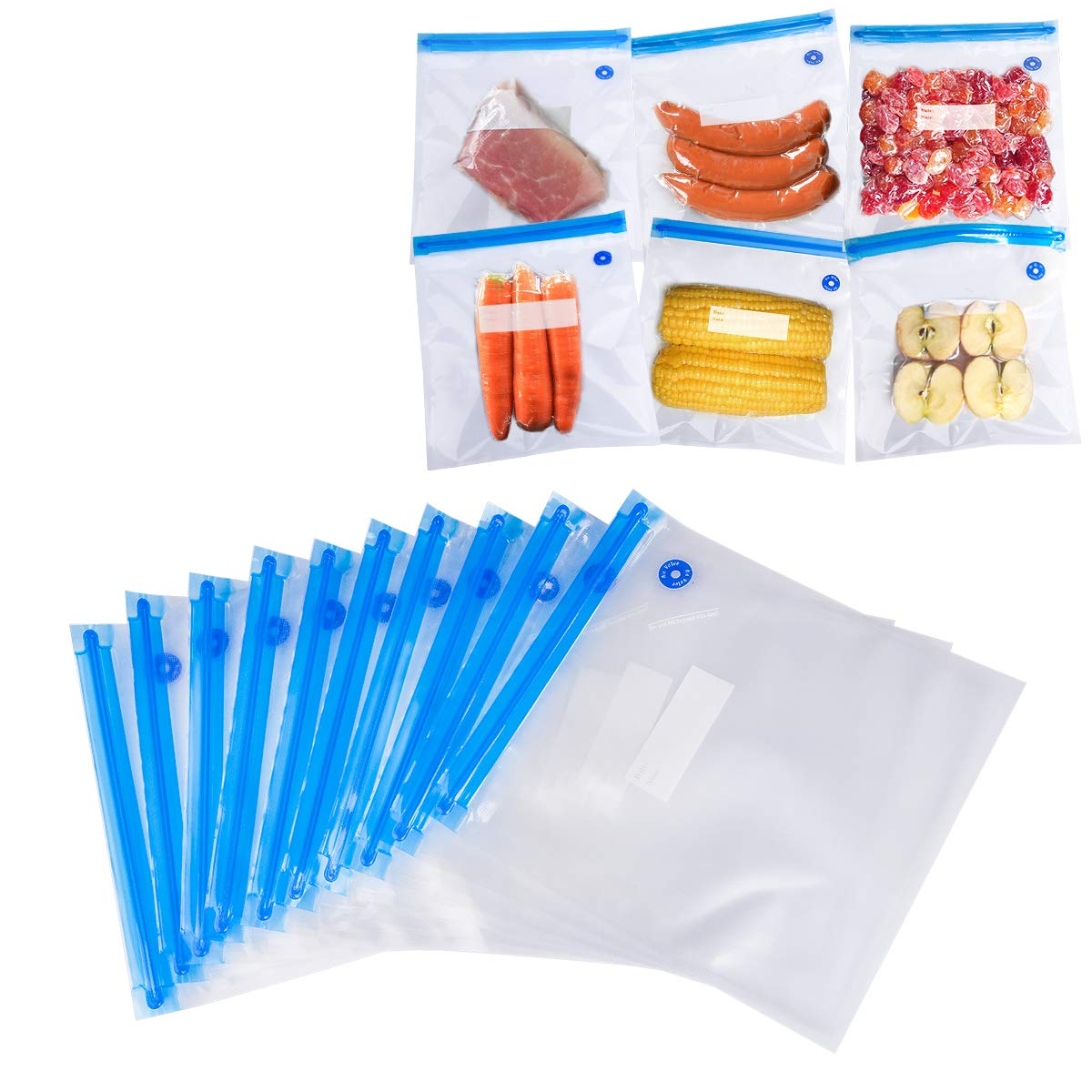 [10 Bags] Sous Vide Bags for Immersion Circulator, ACRATO Food Storage Bags BPA-Free Reusable Food Zipper Bags with 2 Sealing Clips, Easy to Use &Environmental-friendly