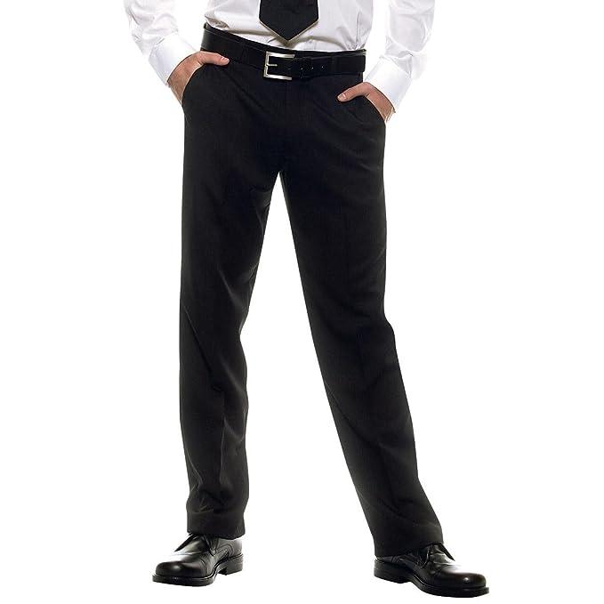 170 gr/m² Nero 100% Poliestere Isacco Pantalone Uomo senza Pinces Nero 40