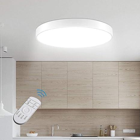 Lámpara de Techo Sararoom 28W Plafon de Techo Redonda Oscurecimiento Continuo 3200k-6500k Tonos Led para baño Dormitorio Cocina Sala de estar Comedor ...