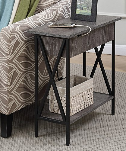 Convenience Concepts Tucson Electric Flip Top Table, Weathered Gray