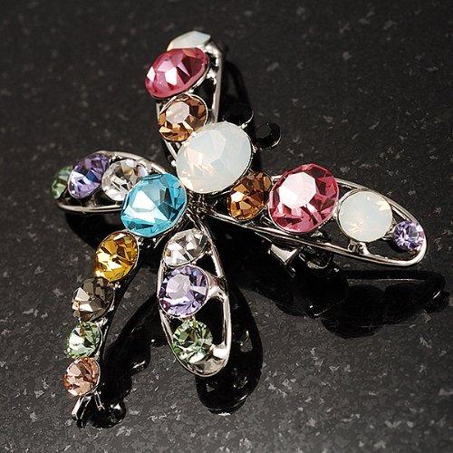 Broche libellule cristal Swarovski (multicolore)