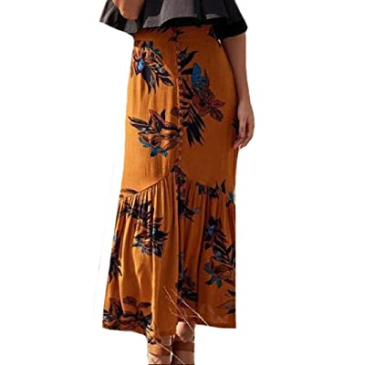 Abetteric Women's Boho Mermaid Front Split Button-up Maxi Long Skirt