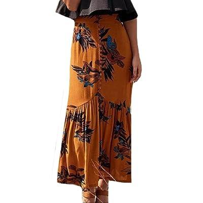 Abetteric Women's Boho Mermaid Front Split Button-up Maxi Long Skirt