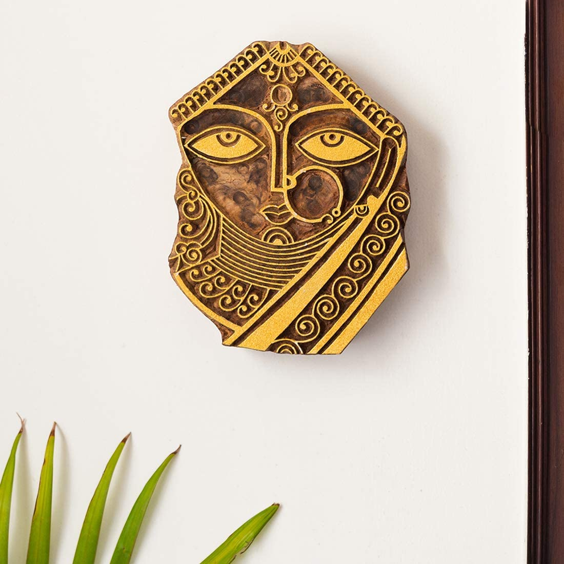 ExclusiveLane 'Madhubani Bride' Hand Carved Block Wooden Wall Décor in Sheesham Wood - Wooden Blocks for Fabric Printing Blocks Wall Decoration Items for Living Room Bedroom Wall Hanging Home Décor