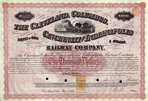 1869 Massive Red Cleveland Columbus Cincinnati   Indianapolis Rwy Bond W Rare Autograph   U S  Revenue Seal   1000 Very Fine To Extra Fine