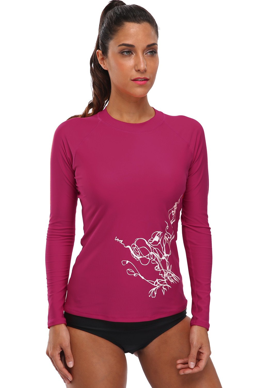 BeautyIn Women's Long-Sleeve Rashguard UPF 50+ Swimwear Rash Guard Athletic Tops,Fuchsia,Small
