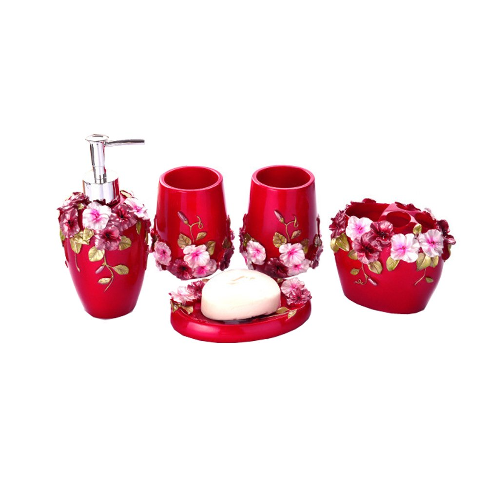 Country Style Resin 5PC Bathroom Accessories Set Soap Dispenser/Toothbrush Holder/Tumbler/Soap Dish (Red)