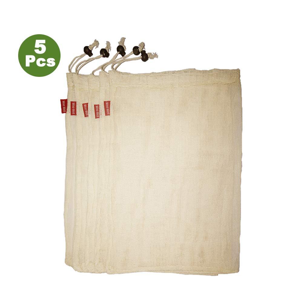 Réutilisable sacs de légumes en coton, sacs de fruits et sacs de légumes, sacs à provisions en maille respirant, beaux sacs en coton naturel, 5 pièces - 5x L(30*40cm), Suffisant pour répondre à vos besoins.vie écologique rendre notre maison plus belle, lai