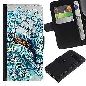 Vela Buque Sea Storm Océano Capitán- la tarjeta de Crédito Slots PU Funda de cuero Monedero caso cubierta de piel Para Samsung Galaxy S6