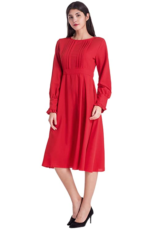 1930s Day Dresses, Afternoon Dresses History Lomantise Womens Long Sleeve Dress Elegant A Line Frill Pleated Fit and Flare Fall Dress Bishop Sleeve with Button $27.99 AT vintagedancer.com