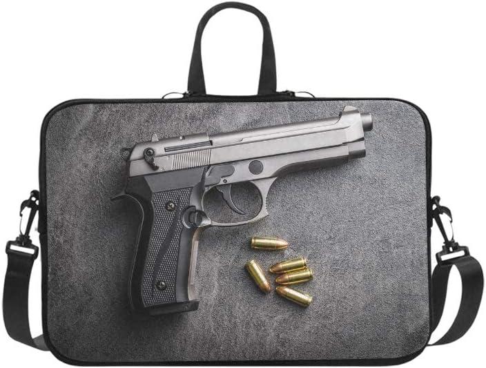 Pistola Balas y Pistolas Patrón Maletín Bolsa para portátil Bolso Bandolera Messenger Bolso Bandolera para Viajes de Negocios