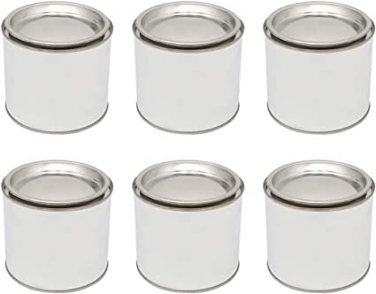 0.2L HEALLILY 6pcs Empty Paint Cans with lids Metal Unlined Round Paint Cans for Arts and Crafts DIY Projects Painting Garage Organization