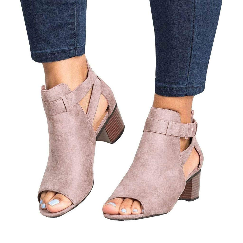Sandals for Women THENLIAN Summer Low-Heeled Sandals Fish Mouth Hollow Out Square with Buckle Roman Sandals(35, Pink)