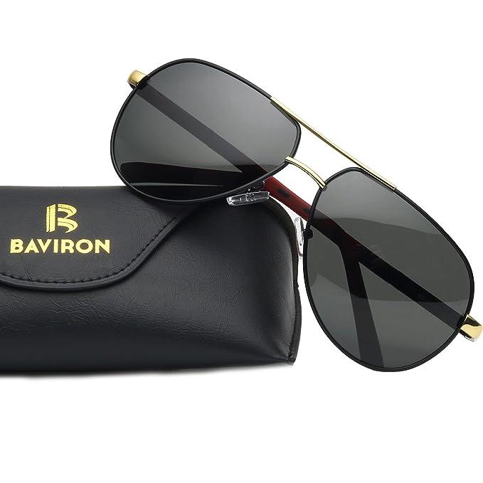 BAVIRON Men s Military Aviator Sunglasses Polarized Double Bridge Metal  Flat Glasses d95b6f56e18