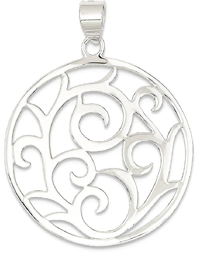 925 Sterling Silver Round Pendant Charm Necklace Geometric Fine Jewelry Gifts For Women For Her