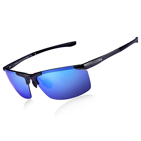 62fb8d14006 VEGOOS Men Sunglasses Polarized UV400 Protection Sports Style Sunglasses  for Driving Fishing Cycling Glasses (Black Frame Blue Lens)  Amazon.co.uk   Clothing