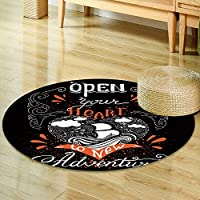 Round Area Rug Carpet vector hand lettered inspirational typography poster open your heart to new  Living Dining Room Bedroom Hallway Office Carpet -Round 47