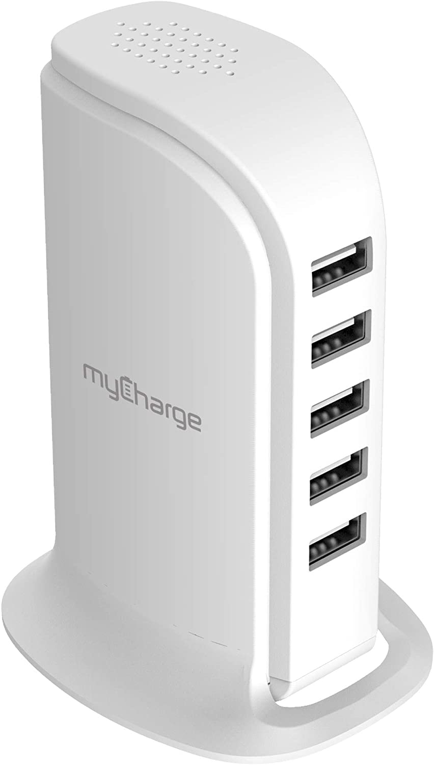 myCharge 5 Port USB Charging Station for Multiple Devices - 25W Desktop Tower Stand Family Hub Wall Charger for Apple iPhone, iPad, Watch & with Samsung Galaxy, Android Tablet, Cell Phone, Accessories