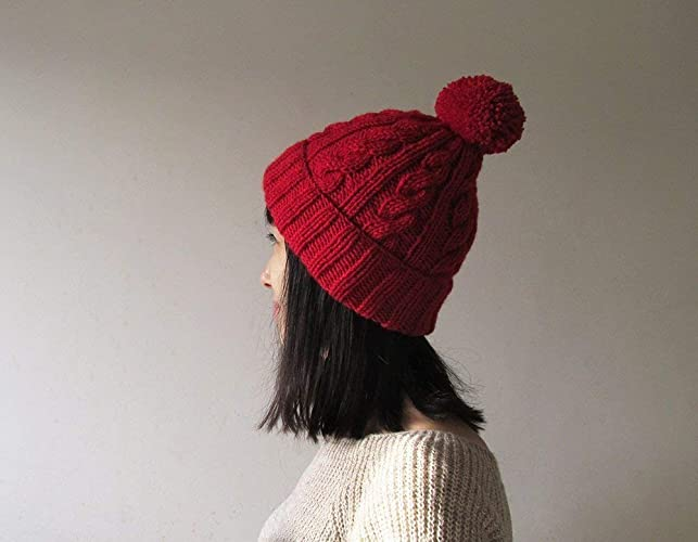 d5d80b06aa8 Image Unavailable. Image not available for. Color  Cable Knit Hat in Red