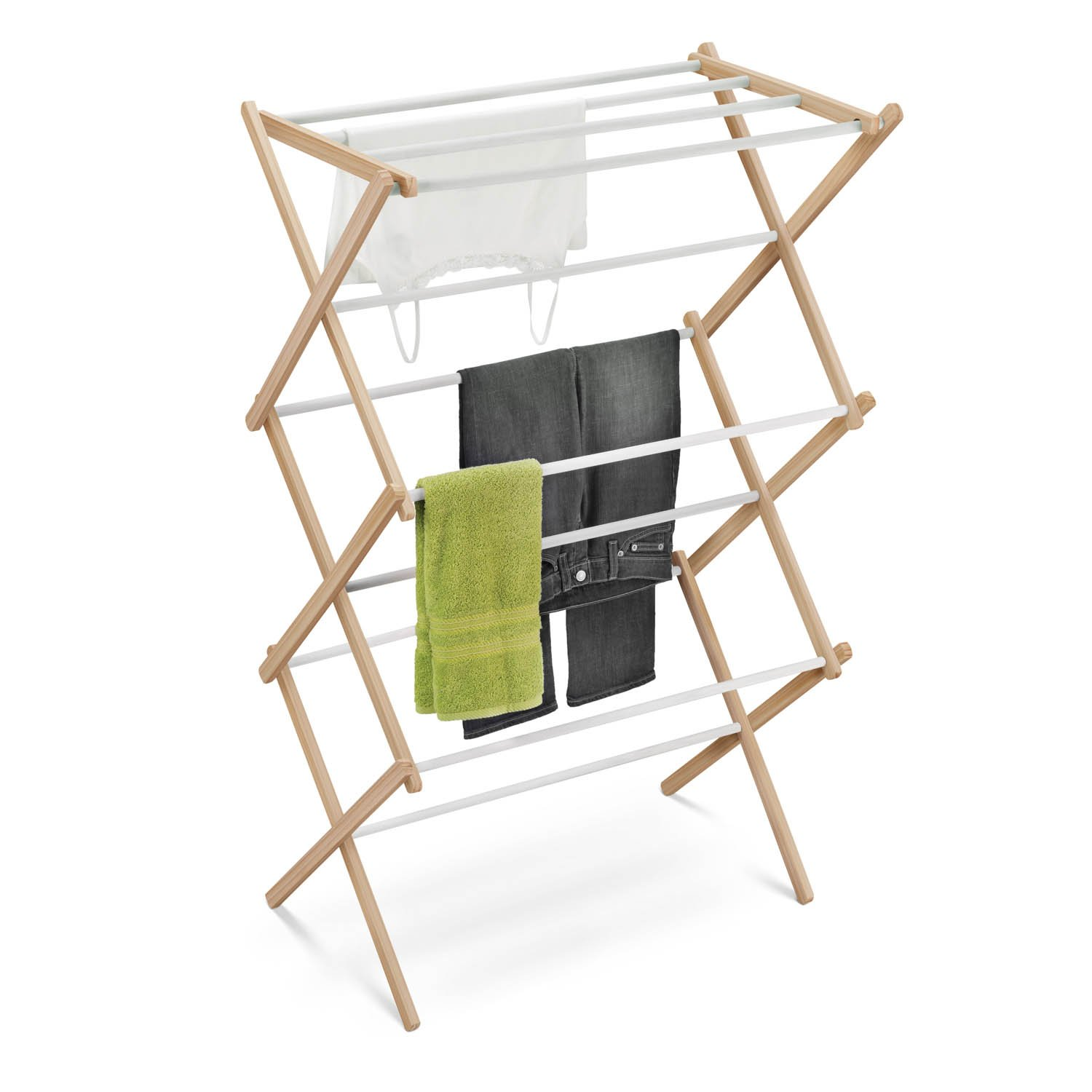 Image: Honey-Can-Do Wooden Clothes Drying Rack | Collapsible drying rack for air-drying clothes and saving electricity consumption