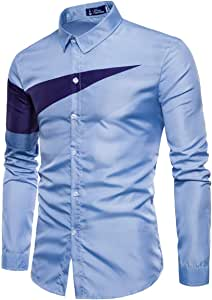 ZODOF camisa hombre camisas sport Casual Pure Color estampadas algodon manga larga Shirts Tops Slim Fit Camisas Blusa Tops Moda para hombre camisa hombre verano(M,Cielo azul): Amazon.es: Instrumentos musicales