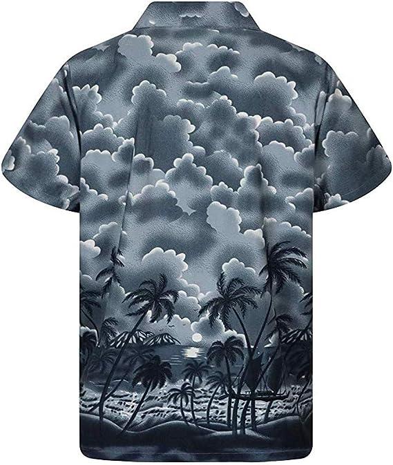 iYmitz - Camisa Hawaiana de Manga Corta para Hombre, diseño Hawaiano, Playera Hawaiana de Verano, Manga Corta, Playa, Palmera, Disfraz, Hawaiano, Casual, Camiseta, Funky, impresión 3D, Manga Corta: Amazon.es: Ropa y accesorios
