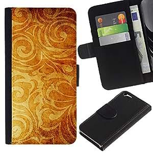 """Apple (4.7 inches!!!) iPhone 6 , la tarjeta de Crédito Slots PU Funda de cuero Monedero caso cubierta de piel ("""" Wallpaper Golden Brown Yellow Plant"""")"""