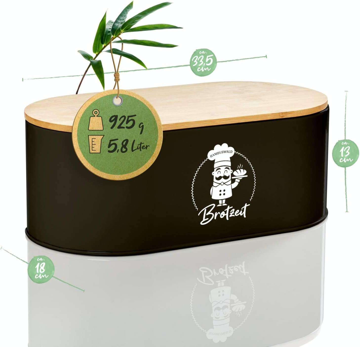 Panera para croissants Recipiente con tabla de cocina Blanco Panera de metal con tapa ecol/ógica de bamb/ú 33,5 x 18 x 13 cm pan o panecillos aprox Bambuswald/©