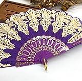 Purple Fashion Vintage Spanish Plastic Embroidered Hand Folding Women Girl Dancing Fan Home Decor Tools