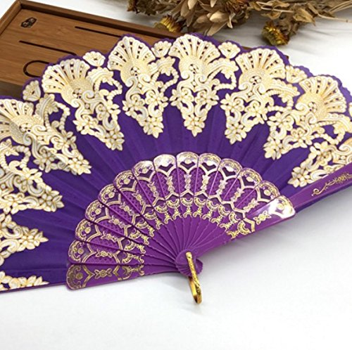 Purple Fashion Vintage Spanish Plastic Embroidered Hand Folding Women Girl Dancing Fan Home Decor Tools by Hand Fan