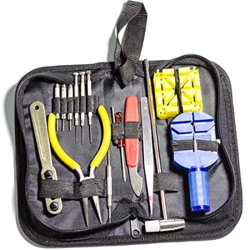Professional Wrist Watch Repair Tool Kit Case Opener Spring Bar Tool Set a Hammer (Open Watch Backs-Change Bands) (Ca Watches For Men compare prices)