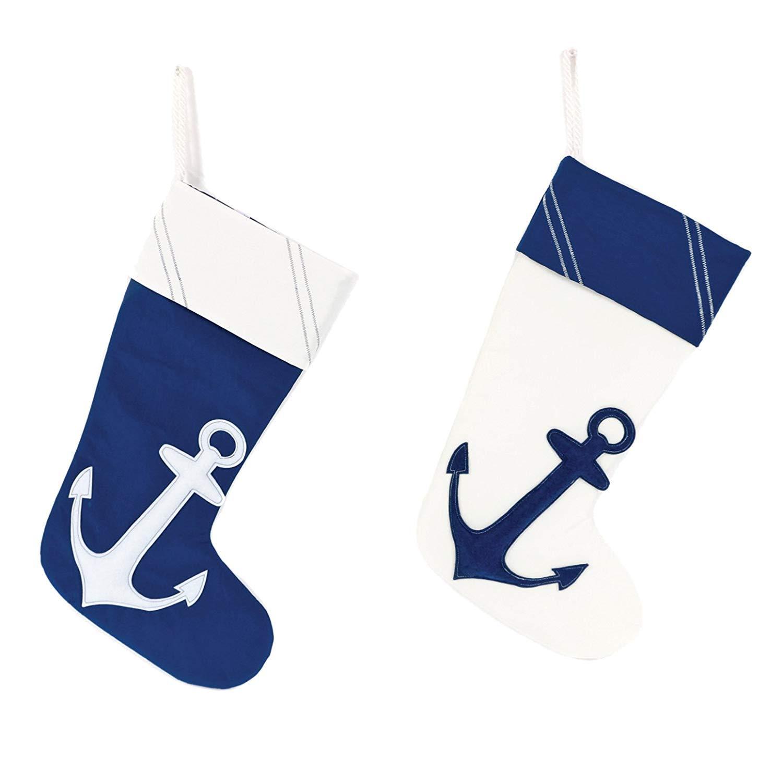 2 Pack! Nautical Blue White Anchor Nylon Coastal Christmas Holiday Stockings by DEI (Image #1)