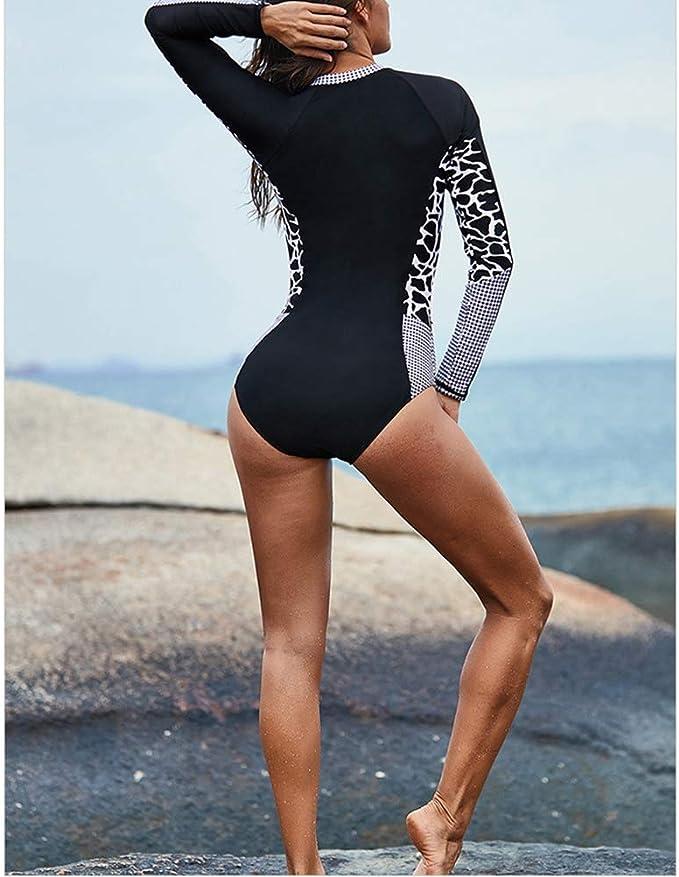 Mujer Traje de Ba/ño Una Pieza Rashguard Ba/ñadores Manga Larga Proteccion Solar Ropa de Ba/ño para Buceo Nataci/ón Surf Playa