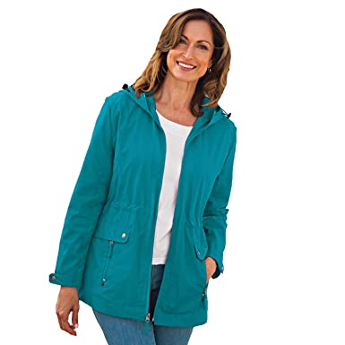 96ef6da43af9b Blair Women s Plus Size Anorak Rain Jacket - 3XL Teal Blue at Amazon ...