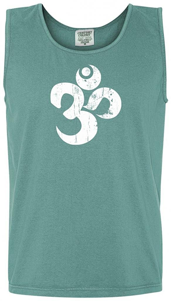 Yoga Clothing For You Mens Distressed OM Pigment Tank Top Shirt 9630-DISTOM