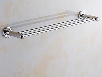 Sucastle Acero Inoxidable Barra de Toalla Colgador de Toallas baño Barra Doble toallero Cuarto de baño Hardware Acero Inoxidable Plata QWERTY 608 * 130 ...