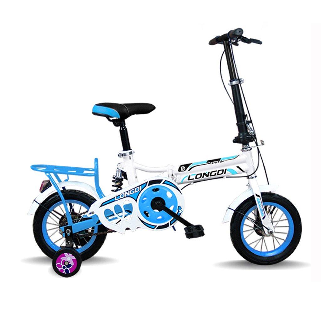子供の折りたたみ自転車12インチ高炭素鋼の自転車2-4歳の子供の自転車、黒と白赤/白青/ピンクホワイト/ホワイトグリーン (Color : White and blue) B07CZBVC91