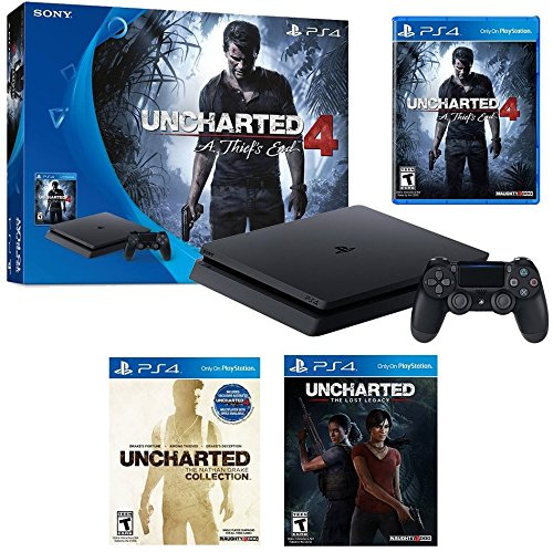 Playstation 4 Uncharted Series Complete Bundle  4 Items   Playstation 4 Slim 500Gb Console  Uncharted 4  A Thief S End  Uncharted  The Nathan Drake Collection And Uncharted  The Lost Legacy