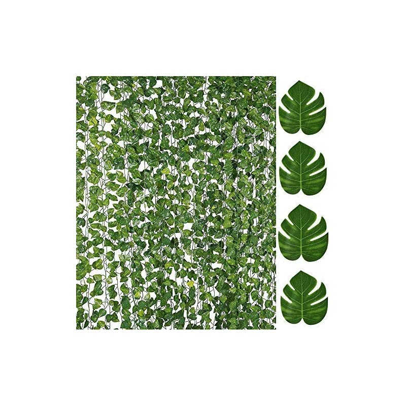 silk flower arrangements 84ft artificial vines with leaves fake ivy foliage flowers hanging garland 12pcs individual strands bonus 12pcs faux monstera tropical palm leaves,home party wall garden wedding decors indoor outdoor
