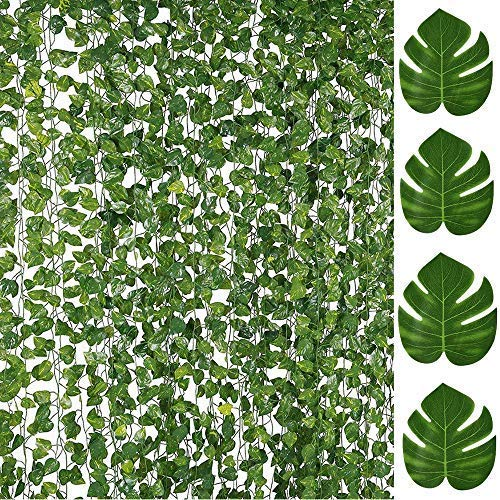 84FT Artificial Vines with Leaves Fake Ivy Foliage Flowers Hanging Garland 12PCS Individual Strands Bonus 12PCS Faux Monstera Tropical Palm Leaves,Home Party Wall Garden Wedding Decors Indoor Outdoor from LOMIRO