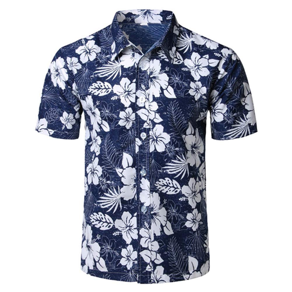 Mens Hawaiian Printed Shirt Mens Summer Beach Short Sleeve Floral Shirts Show,XXXL