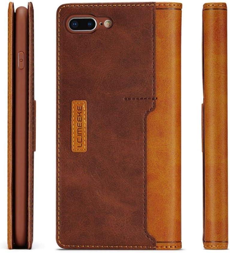 LCHULLE Lederh/ülle f/ür iPhone X//Xs H/ülle Leder Flip Schutzh/ülle mit Kartenfach Leder Klapph/ülle ultrad/ünn Brieftasche magnetische Ledertasche Handytasche Braun