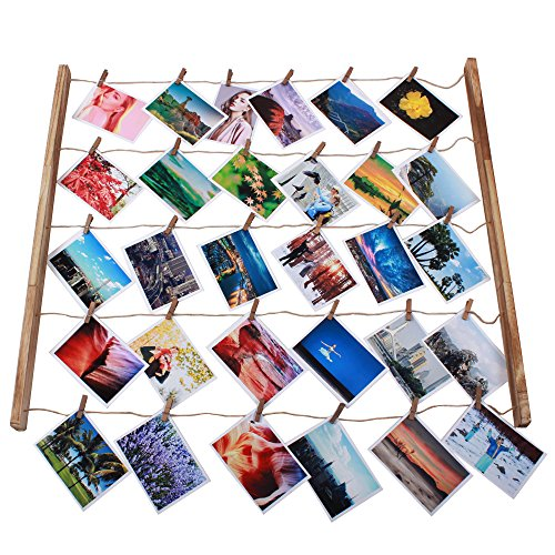 Wood Picture Photo Frame for Wall Decor 26×29 inch - With 30 Clips Ajustable Twines Artworks Prints Multi Pictures Organizer Hanging Display Frames